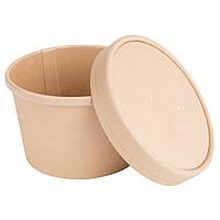 Емкость одноразовая для супа/мороженого с крышкой 240 мл., 9х7,5х6 см. 25 шт/уп. крафтовая, коричнев
