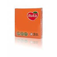 Салфетка бумажная 3-х слойная 33х33 см., 20 шт/уп оранжевая РУТА