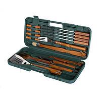 Набір для гриля 18 шт. дерев'яні ручки щітка, захоплення для барбекю, токар, ніж, виделка, 4 шампура, 8