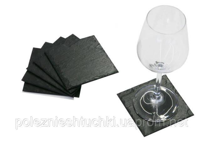 Подставка под бокал или чашку 10х10 см. сланцевая