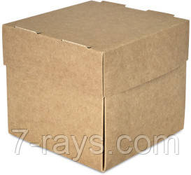 Бокс одноразовый на вынос для бургеров 12х12х11 см., 100 шт/уп бумажный с крушкой, крафт