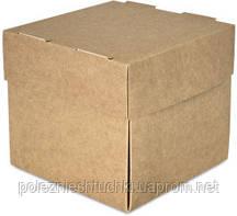 Бокс одноразовий на винос для бургерів 12х12х11 див., 100 шт/уп паперовий з крушкой, крафт