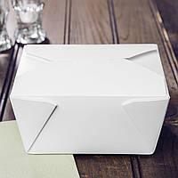 Бокс одноразовый на вынос 900 мл., 10х9х6 см., 100 шт/уп бумажный, белый крафт