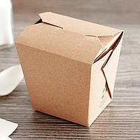 Бокс одноразовый для WOK/Салат/Рис/Лапша 500 мл., 6х7,5х9 см. бумажный, бурый крафт