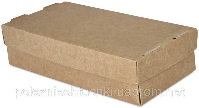 Бокс одноразовий для суші 2 рол, 20х10х5 див., 100 шт/уп паперовий з кришкою, крафт