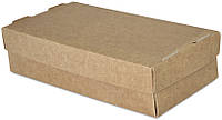 Бокс одноразовый для суши на 2 ролл, 20х10х5 см., 100 шт/уп бумажный с крышкой, крафт, фото 1