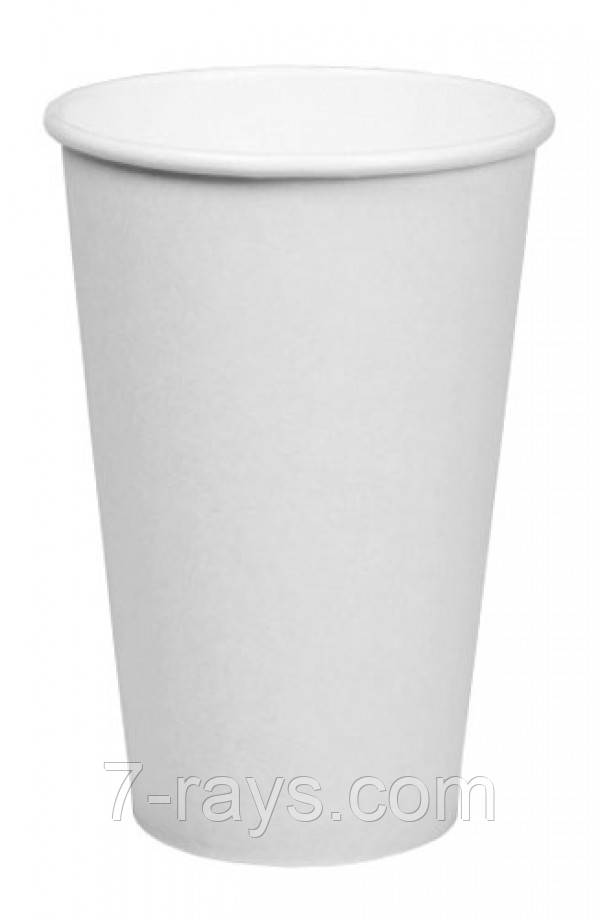 Стакан одноразовий 450 мл (16oz) Ǿ=90мм, h=135мм 1РЕ паперовий одностінний білий 50 шт/уп
