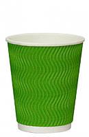 Стакан паперовий гофрований S-хвиля зелений 350мл Ǿ=90мм, h=110мм, фото 1