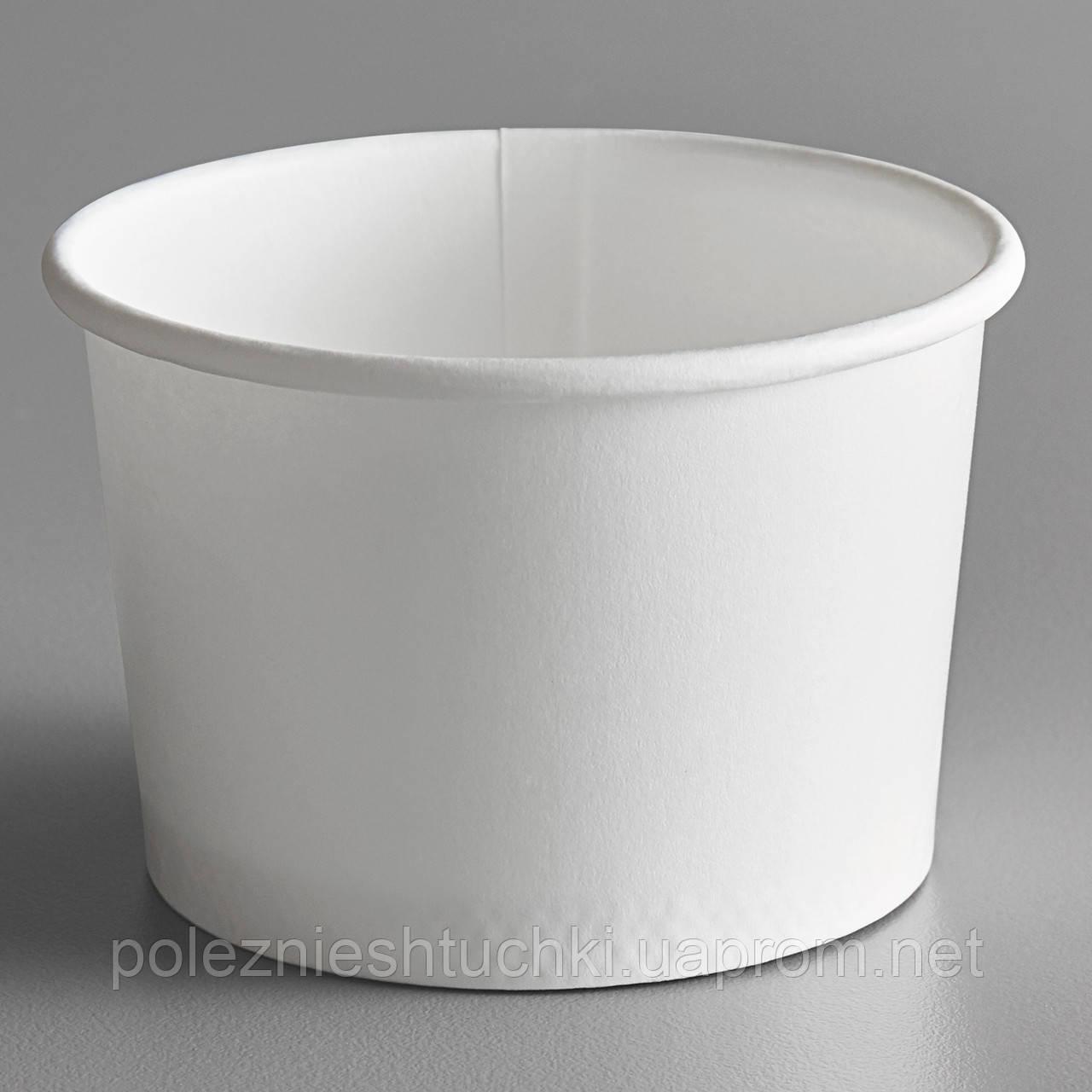 Контейнер бумажный для мороженого 1РЕ белый 125 мл. Ǿ=75мм H=50мм (Крышка с ложкой 011574, Icecream7)