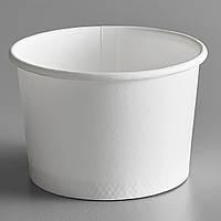Контейнер бумажный для мороженого 1РЕ белый 125 мл. Ǿ=75мм H=50мм (Крышка с ложкой 011574, Icecream7), фото 1
