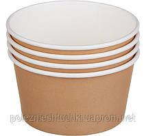 Контейнер бумажный для супа и вторых блюд 470 мл 110х68мм крафт Без крышки 50 шт 310 г/м2 2РЕ (Крышка 010549)