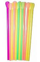 Трубочка (соломинка) с лопаткой 20 см. цветная люминисцентная 100шт/уп