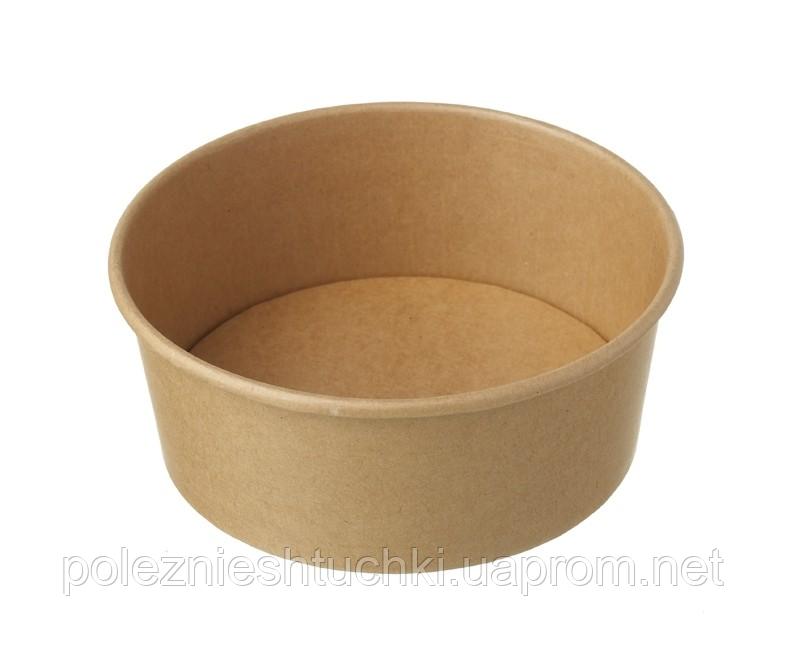 Контейнер паперовий круглий для салату і других страв крафт/крафт 1000 мл, 150х80 мм. 1РЕ (кришка 011785)
