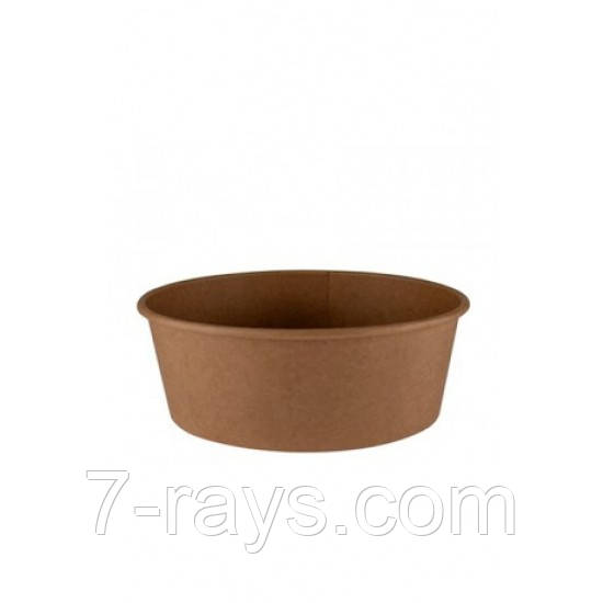 Контейнер бумажный круглый для салата и вторых блюд крафт 750мл 1РЕ Ǿ=150мм, h=60мм
