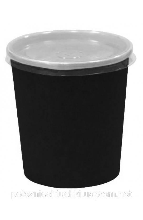 Контейнер паперовий для супу і других страв чорний 300мл, Ǿ=90мм, h=85мм Без кришки
