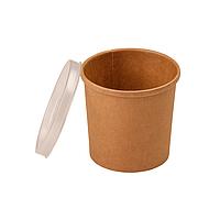 Контейнер для супа, вторых блюд, мороженого крафт 300 мл. Ǿ=90х85 мм 1РЕ бумажный Без крышки (Крышка 013819)