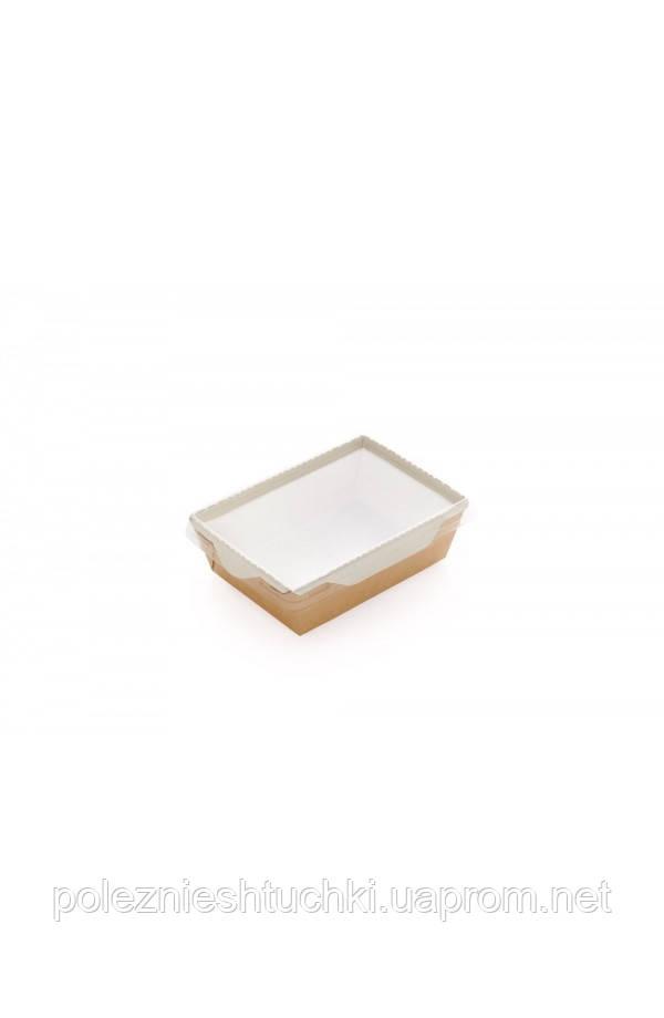 Контейнер бумажный для еды на вынос, 1РЕ крафт 220*160*55мм, 1000 мл с прозрачной плоской РЕТ крышко