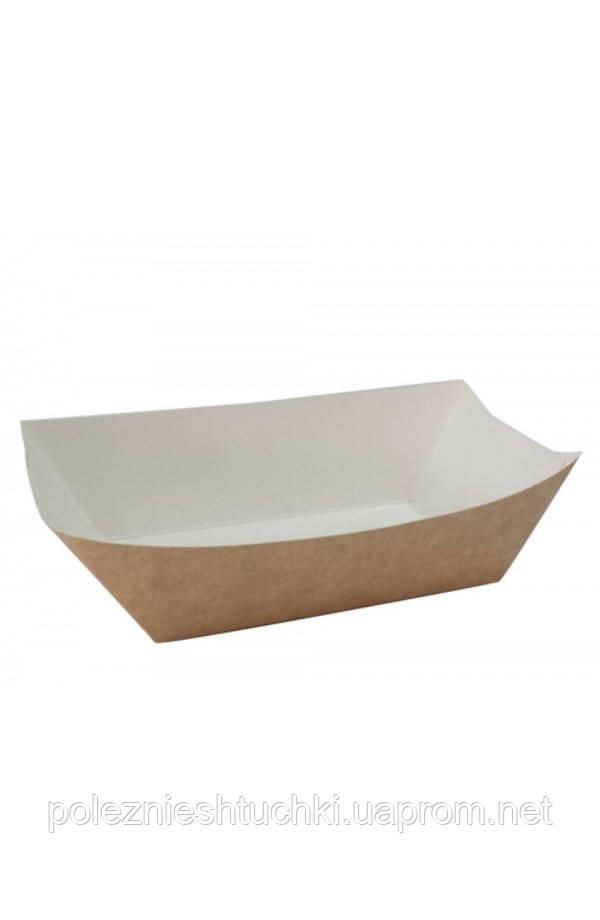 Тарелка-лодочка бумажная малая 106х72х42мм крафт