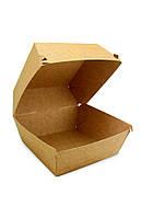 Коробка бумажная под бургер высокая 118*118*86мм, крафт снаружи / крафт внутри