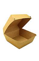 Коробка бумажная под бургер высокая Big Size 130*130*100мм, крафт снаружи / крафт внутри