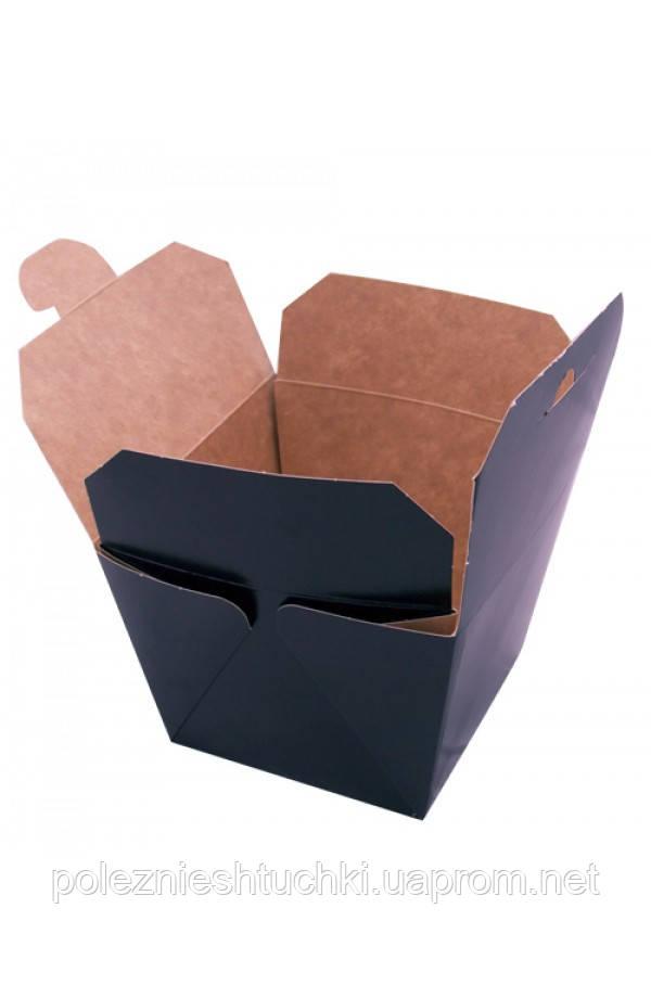 Паперова Коробка під ВОК 700 мл, 8,5х8,5х8,2см (всередині крафт) чорна (013895)