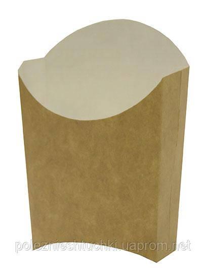 Коробка бумажная для картошки фри М (малая) 90/65х115 мм. крафт/белый на 150 грамм 60 шт/уп