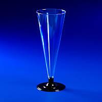 """Бокал одноразовый для шампанского 100 мл, Ǿ=60 мм, h=160 мм. на съемной ножке, стеклоподобный """"Конус"""