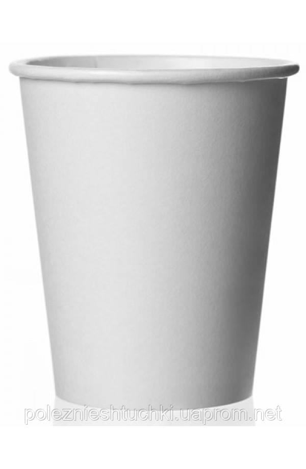 Стакан паперовий 1РЕ одностінний білий 250мл (8oz) Ǿ=80мм, h=92мм