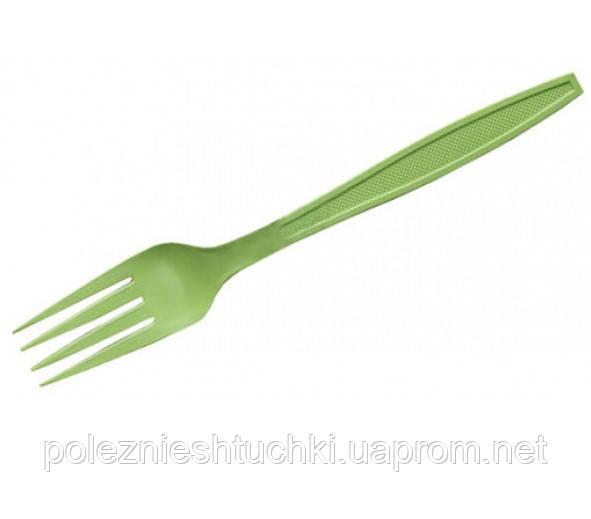 Вилка одноразова їдальня 16 див., 50 шт/уп (биоразлагаемая, кукурудзяний крохмаль) зелене (салатове)