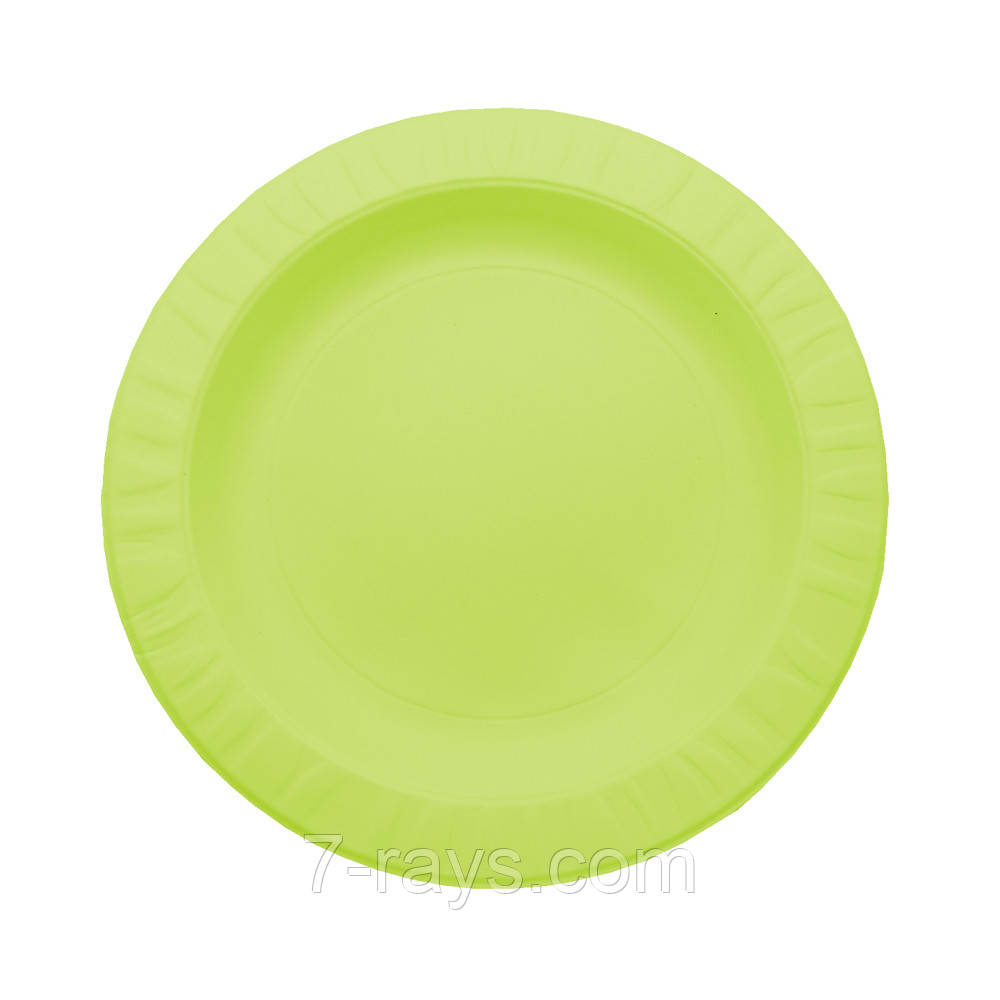 Тарелка одноразовая 18 см. из кукурузного крахмала, салатовая 50 шт/уп