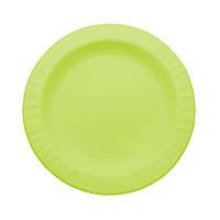 Тарелка одноразовая 18 см. из кукурузного крахмала, салатовая 50 шт/уп, фото 1