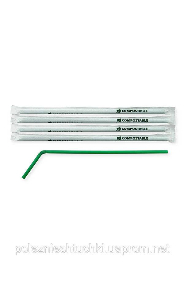 Трубочка BIO кукурузный крахмал с коленом в индивидуальной упаковке, темно-зеленая, Ǿ=6мм, 240мм 400