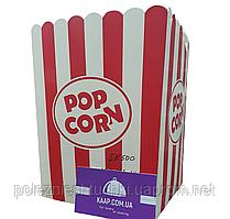 Ведро/стакан для попкорна квадратное 5 л бумажное белое с красной полоской V170