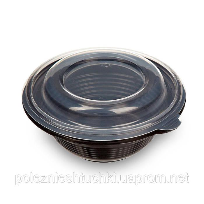 Ємність для перших страв/супу 350 мл, 144/52х65 мм. з кришкою із поліпропілену (ПР-МС-350)