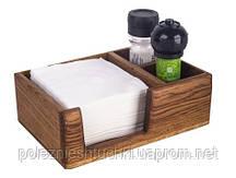 Салфетница с отделениями под соль и перец 21х14х9 см. деревянная из светлого дуба