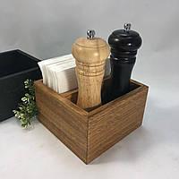 Салфетница с отделением для специй 15х15х9 см. деревянная, из дуба