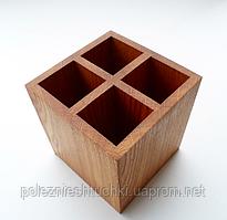 Подставка для столовых приборов 13х13х14 см. из натурального дерева