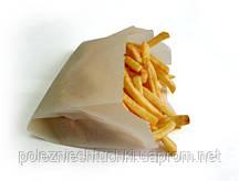 Пакет паперовий з бічною смугою для картоплі фрі 13х13х3 див., 52 г/м2, 2000 шт/ящ жиростойкий, бур