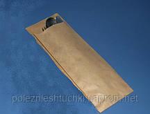 Пакет паперовий з бічною смугою для столових приладів 19х7,2 див., 38 г/м2, 2000 шт/ящ бурий крафт