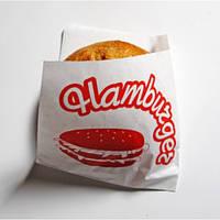 """Пакет бумажный -уголок 15х12,5 см., 40 г/м2, 2000 шт. белый крафт с печатью """"Гамбургер"""" (44000)"""