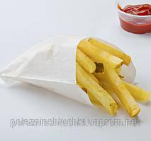 Пакет бумажный с боковой складкой для картошки фри 11х11х3 см 40 г/м2, 2000 шт/ящ жиростойкий, белый