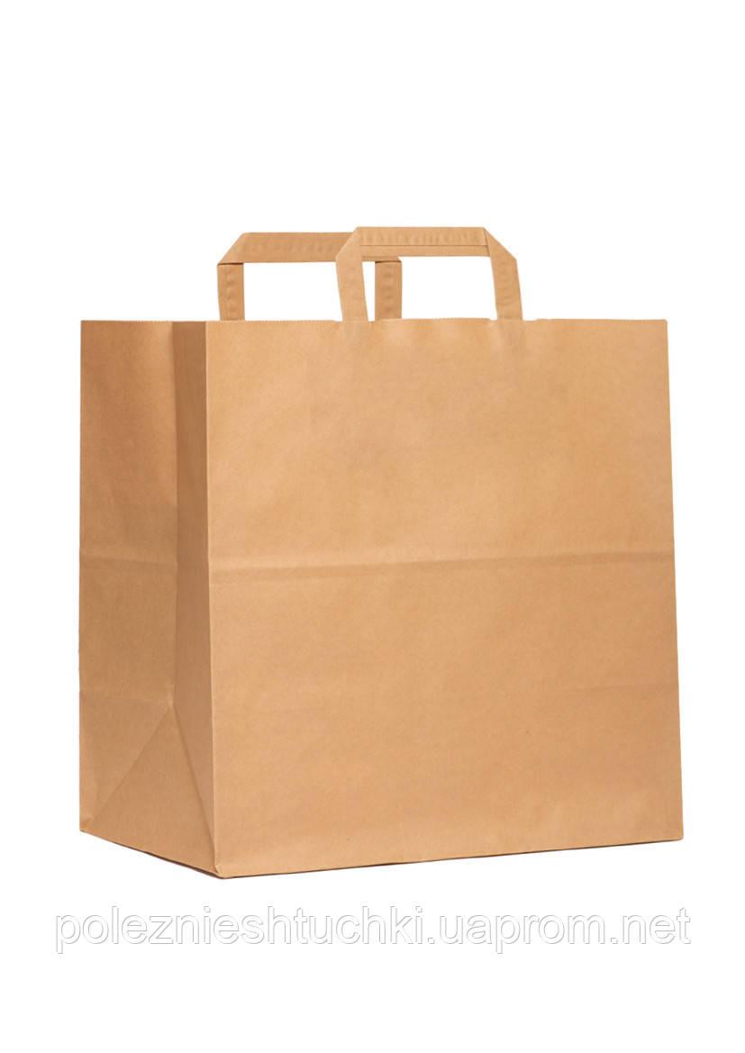 Пакет бумажный с дном 32х15х38 см., 90 г/м2, 250 шт/ящ с плоскими ручками, бурый крафт (801000)