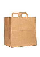 Пакет паперовий з дном 32х15х38 див., 90 г/м2, 250 шт/ящ з плоскими ручками, бурий крафт (801000)