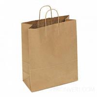 Пакет паперовий з дном 26х14х33,5 див., 80 г/м2, 150 шт/ящ з крученими ручками, бурий крафт (808000)