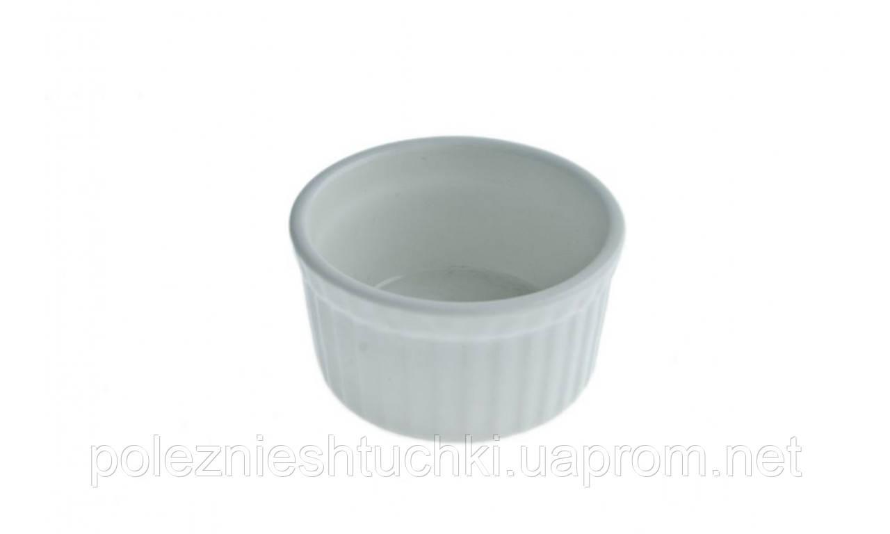 Блюдо для запікання Крем-Бруле 6,5х3,5 см, 80 мл порцелянове, кругле, біле Cafe time, FoREST