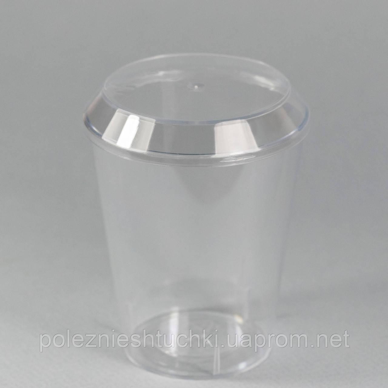 Пиала с крышкой фуршетная круглая 175 мл., 7,5х8,5 см., 25 шт/уп стеклоподобный, прозрачная