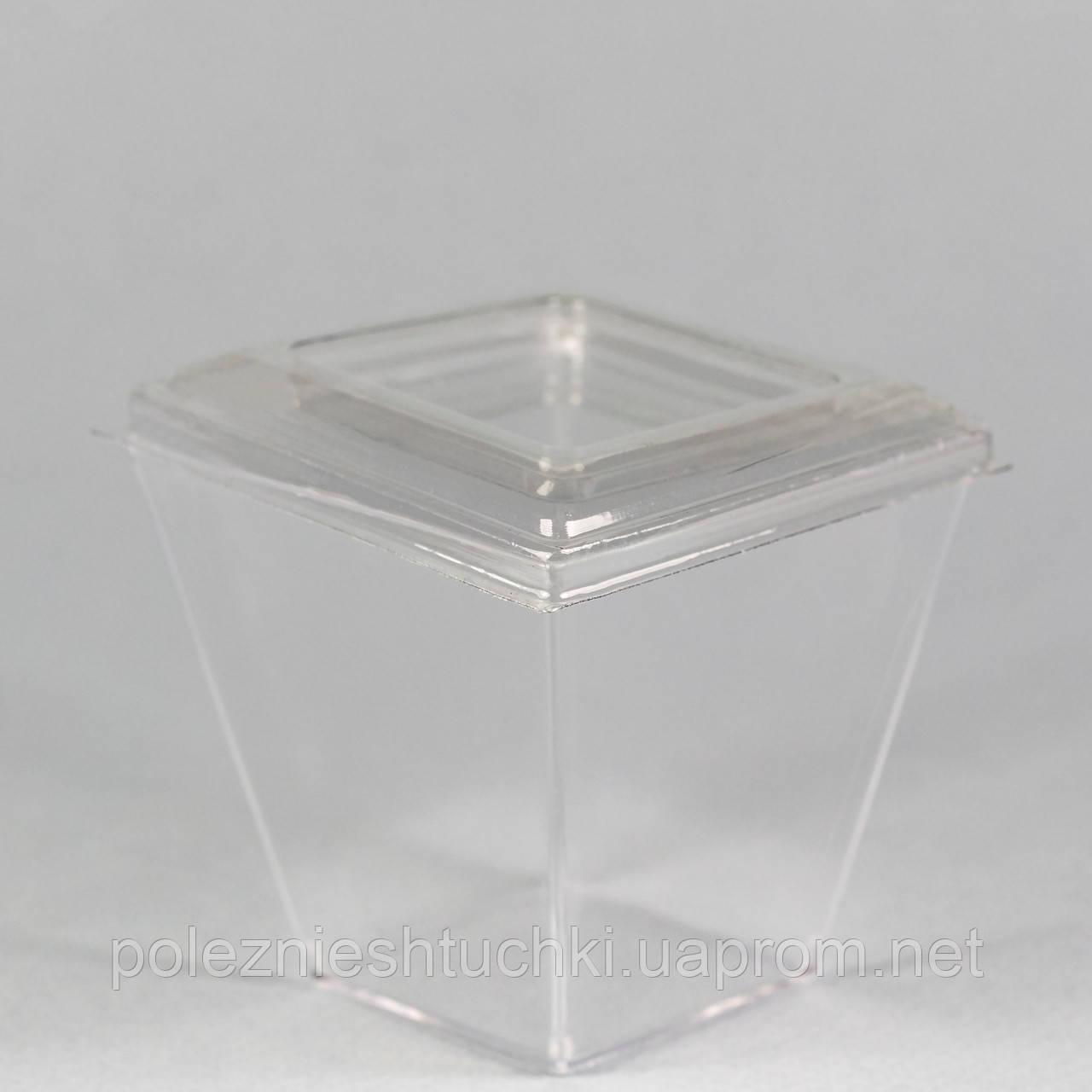 """Пиала с крышкой фуршетная круглая 200 мл., 7х7х6,5 см., 50 шт/уп стеклоподобный, прозрачная """"Пирамид"""