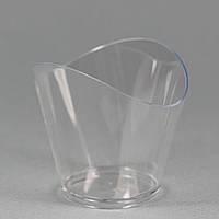 "Пиала фуршетная овальная 50 мл., 6,3х5,3х4,5 см., 15 шт/уп стеклоподобная, прозрачная ""Волна"""
