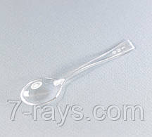 Ложка одноразова фуршетна-десертна 10 див., 100 шт/уп стеклоподобная, прозора NEW