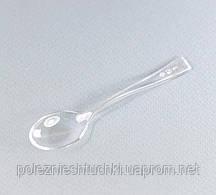 Ложка одноразовая фуршетная-десертная 10 см., 100 шт/уп стеклоподобная, прозрачная NEW